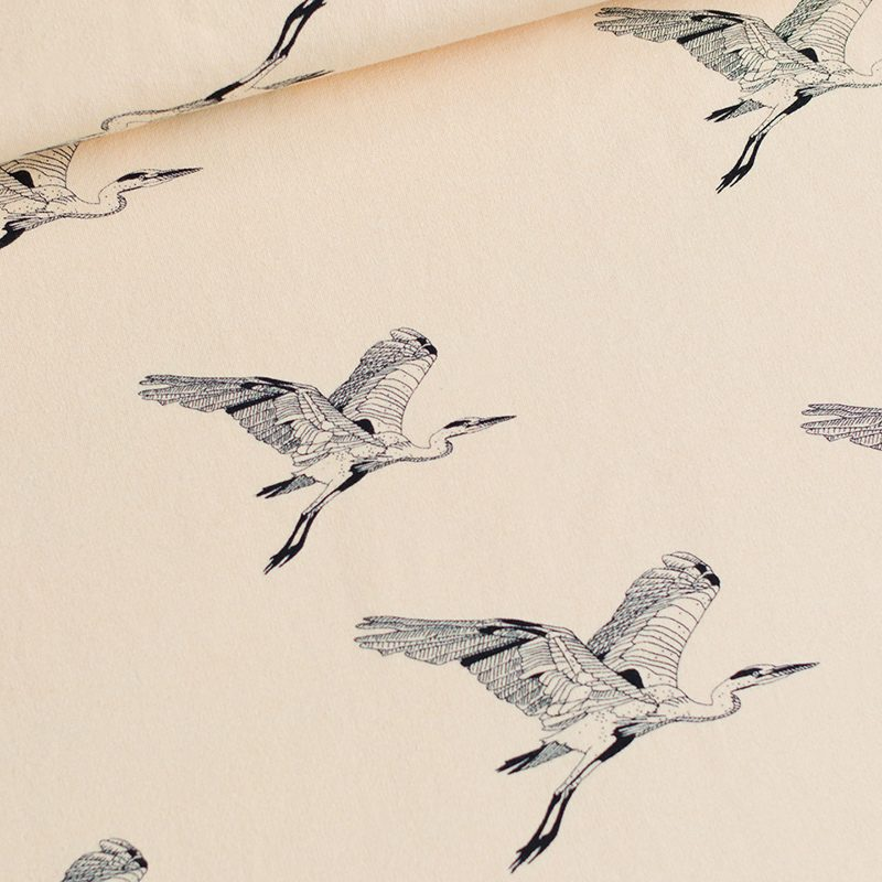 Herons in Honey Peach French Terry