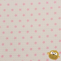 Wafelbadstof Wit Met Roze Sterren