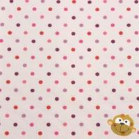 Pastel Pink Red Lila Dots In White Tricot
