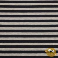 Dark Blue Stripes  In Grey Melange Sweattricot