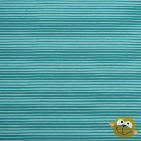 Small Petrol Stripes In Mint Tricot