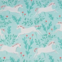 Unicorn Forest  In Aqua Tricot