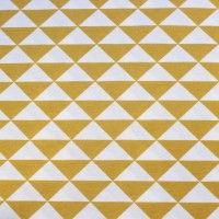 Ochre Triangles In White  Canvaskatoen