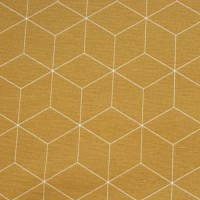 Thin White Skew Cubes  In Ochre Canvaskatoen