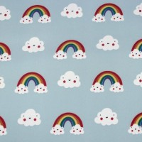 Blushing Cloud & Rainbows  In Light Blue  Softshell