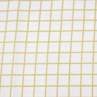 Gold Lurex Squares  In White  Coated Katoen