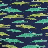 Alligators  In Navy Laminated Katoen