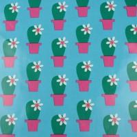 Cactus Blossom  In Blue Laminated  Katoen