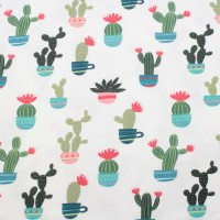 Cactus & Pots  In White Tricot