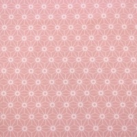White Geometrics  In Pastel Pink Tricot