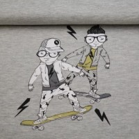 Skater Boys Panel In Grey Melange Summer Sweattricot