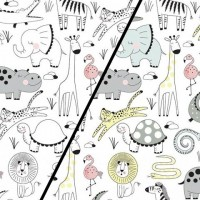 Animal Party  In White Magic Tricot (change) PRE-ORDER