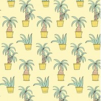 Palm Trees  By Eva In Soft Yellow  French Terry