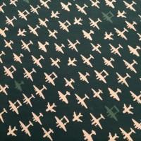 Vliegtuigjes In Dark Green Organische Katoen