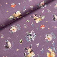 Cute Animals In Soft Purple Digital Tricot