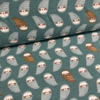 Owls In Dark Mint Tricot