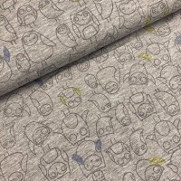 Owls In Grey Melange French Terry