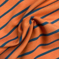 Blue Stripes in Red Rust French Terry