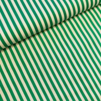 Green Stripes in White Katoen