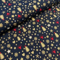 Gold foil Christmas Print in Dark Navy Katoen