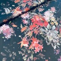Digital Flowers In Satin Black Viscose