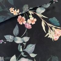 Green Flowers In Black Viscose