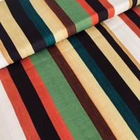 Multi Stripes In Satin Viscose