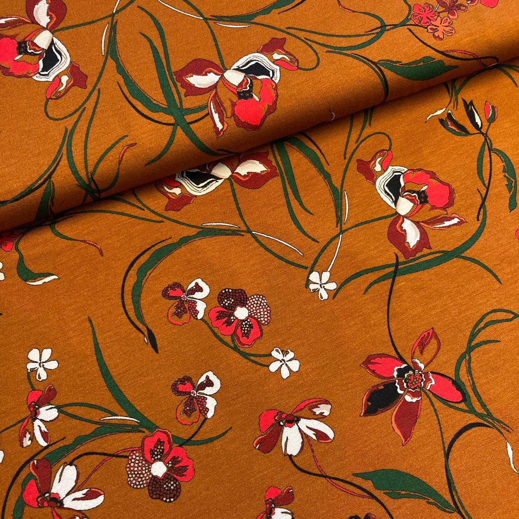 Big Flowers In Rust Viscose Tricot