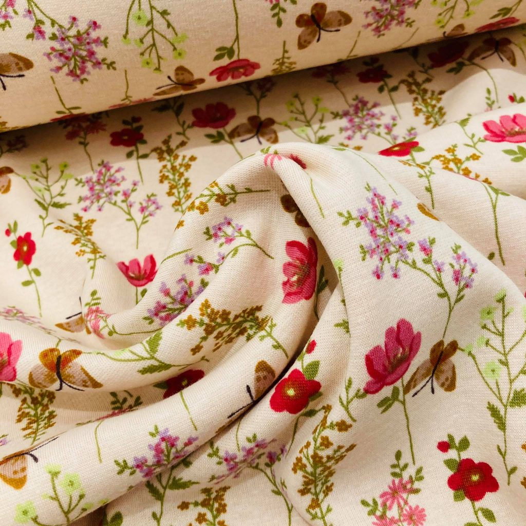 Butterflies And Flowers In Soft Rose Brushed French Terry