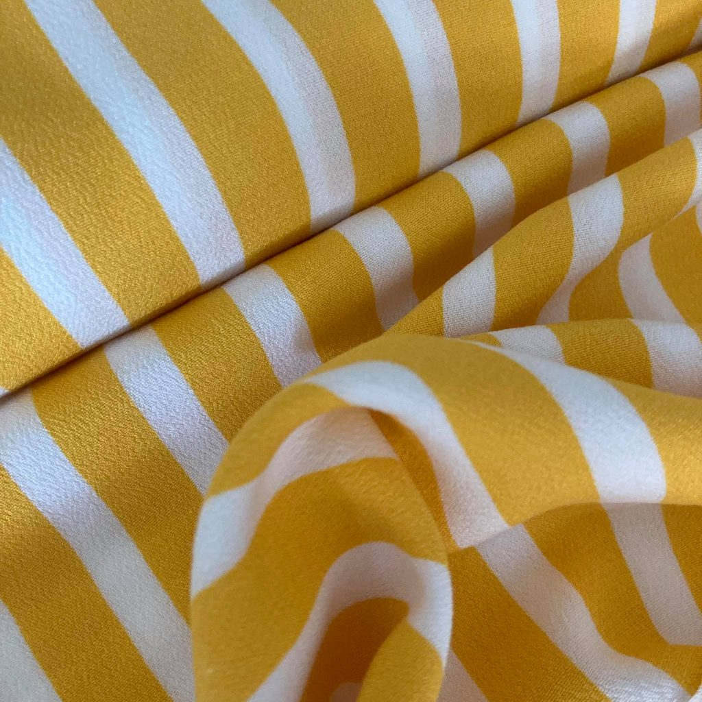 Yellow Stripes In Crepe Viscose