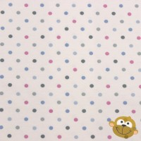 Pastel Pink Blue Green Dots In White Tricot