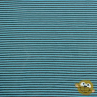 Small Taupe Grey Stripes In Turquoise Tricot