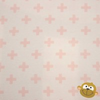 Little Pink Cross  In White Tricot