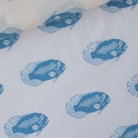 Blue Fish In Soft Rose Cotton Lawn