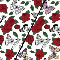 Butterflies And Roses In White Magic Tricot (change) PRE-ORDER