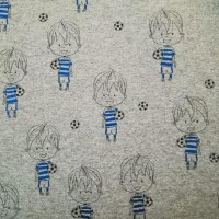 Blue Sparkle Footballer In Grey Melange Tricot