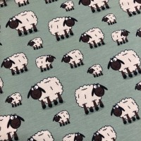 Sheep In Bright Mint Tricot