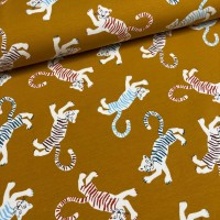 Tigers In Ochre Yellow French Terry
