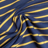 Ocher Stripes in Blue French Terry