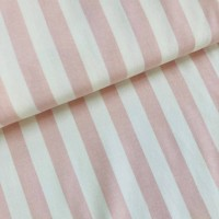 Soft Pink Stripes In Offwhite Bio Tricot