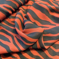 Black Zebra Stripes In Rust Red Viscose