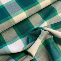 Green Checks In White Ecru Cotton Viscose