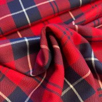Blue Checks In Red Viscose