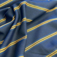 Ocher Stripes In Navy Blue Viscose