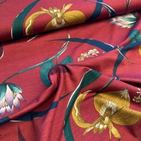 Flowers In Bordeaux Viscose Tricot