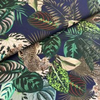 Digital Wild Jungle In Dark Blue Viscose Tricot