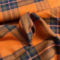 Blue Checks in Orange Cotton Viscose