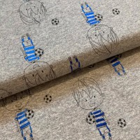 Blue Foil Football In Grey Melange French Terry