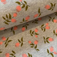 Glitter Flowers In Grey Melange Brushed French Terry