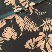 Tropical Leaves In Anthracite Viscose